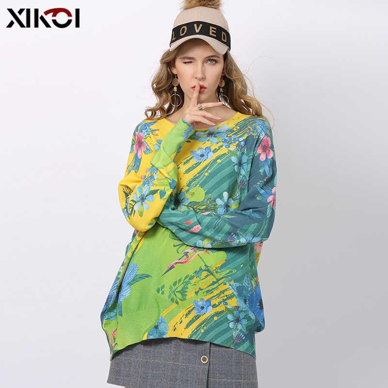 XIKOI 겨울 꽃 프린트 스웨터 여성 풀오버 니트 o 넥 점퍼 여성 오버 사이즈 웜 스웨터 고탄성 당겨 Femme