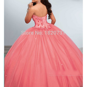 Image 2 - Charming Sweetheart Ball Gown Quinceanera Dresses Beading Crystal Sequined Tulle Debutante For Sweet 16 Years Dress