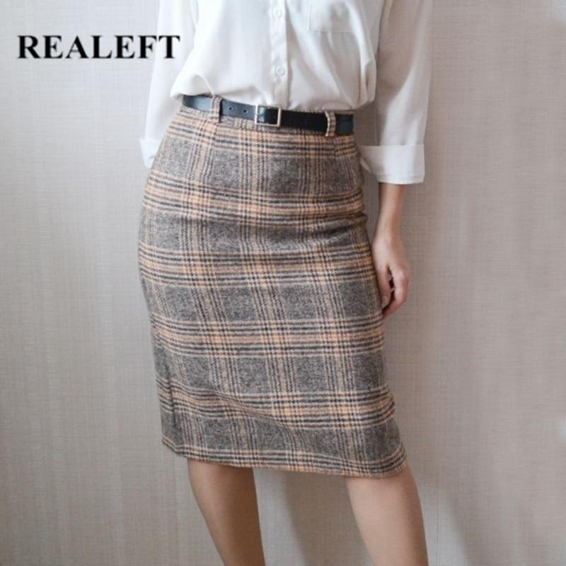 REALEFT 2019 Women Woolen Vintage Midi Pencil Skirts Autumn Winter Plaid High Waist Harajuku Tulle Skirts With Belt For Female