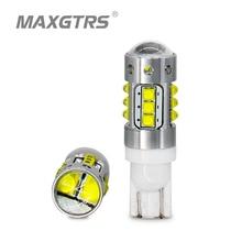 2x de alta potência t10 194 168 w5w 70 w chip cree lâmpadas led drl cauda do carro estacionamento lâmpada backup reverso parar luz com lente projetor