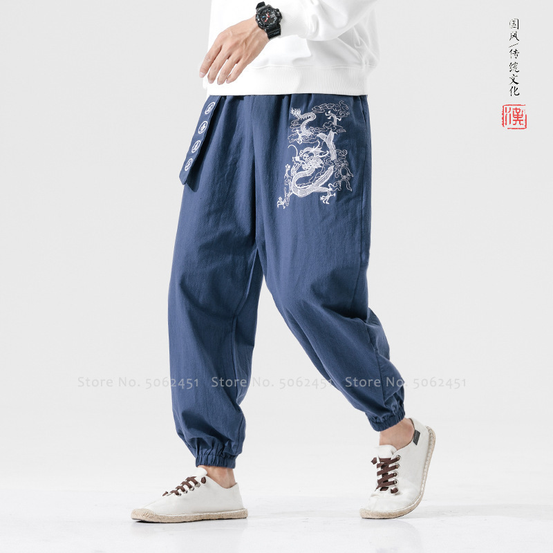 Men Chinese Traditional Embroidery Dragon Harem Bloom Pants Vietmam Clothing Japanese Fashion Ao Dai Sports Trousers Streetwear