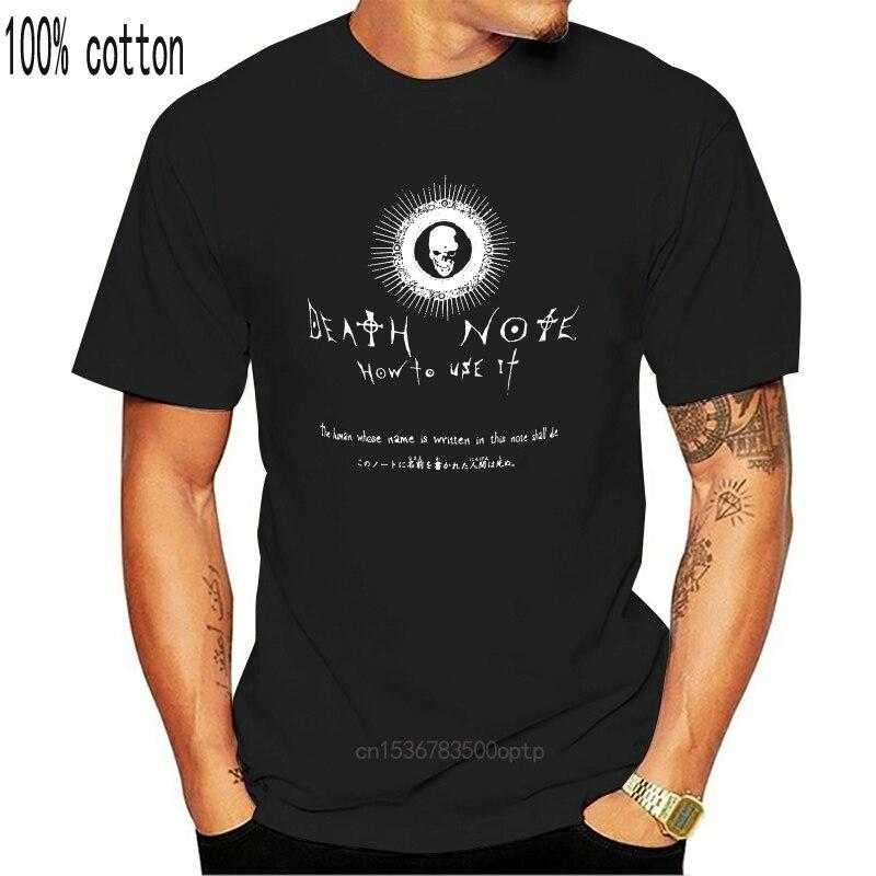 Мужская Летняя черная футболка с принтом «тетрадь смерти» из 100% хлопка