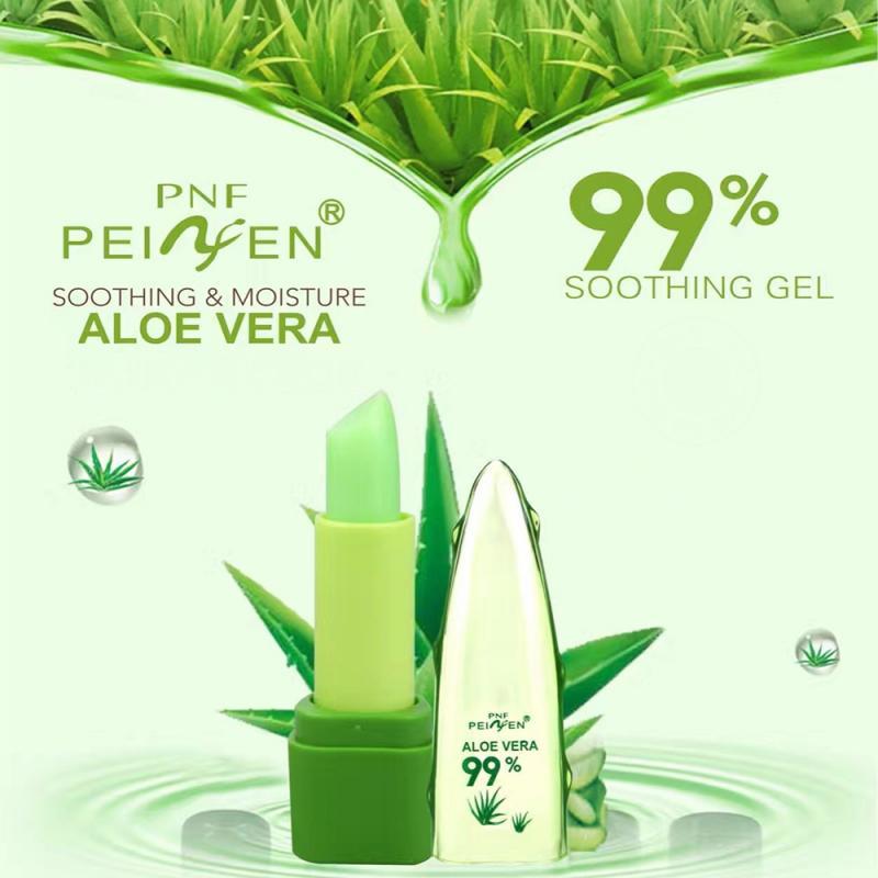 1PC Moisture 99% Aloe Vera Lip Balm Natural Long Lasting Lipbalm Temperature Changed Color Lipstick Base Makeup Beauty TSLM2 1