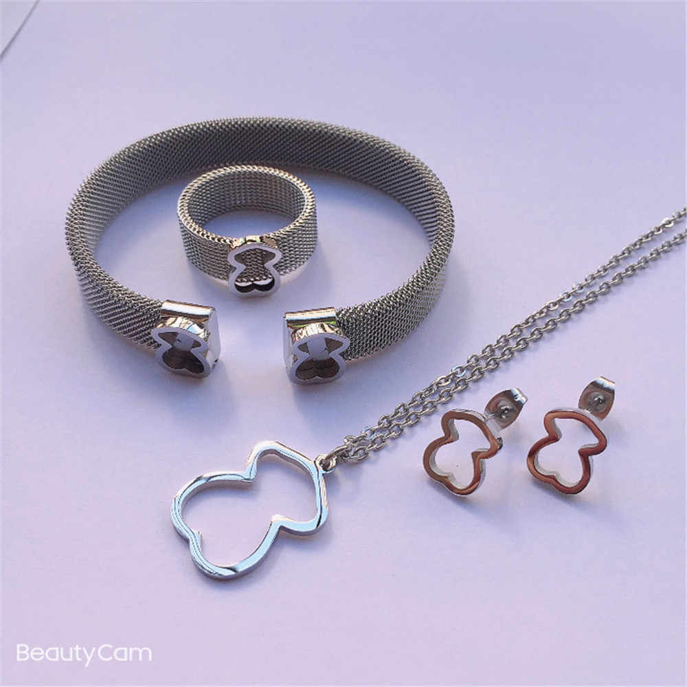 Bear Sieraden Set Beer Oorbellen Ketting Ring Armband Voor Best Gift Hoge Kwaliteit Cute Charm Mooie Stijl Sieraden Set