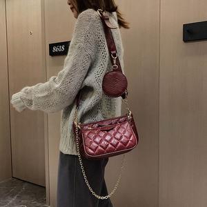 Image 4 - Сумка тоут женская из мягкой кожи, роскошный комплект из 3 предметов, винтажный кошелек на плечо и сумочка мессенджер на цепочке, клатч