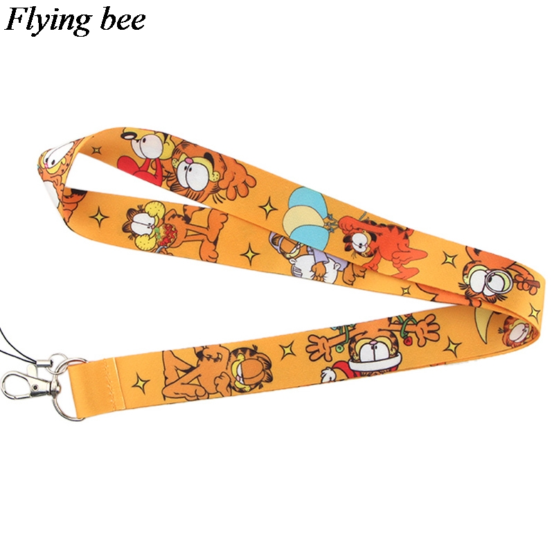 Flyingbee New Fashion Cat Printed Lanyard Key Strap For Phone Keys Cartoon Lanyards ID Badge With Key Ring Holder X0534