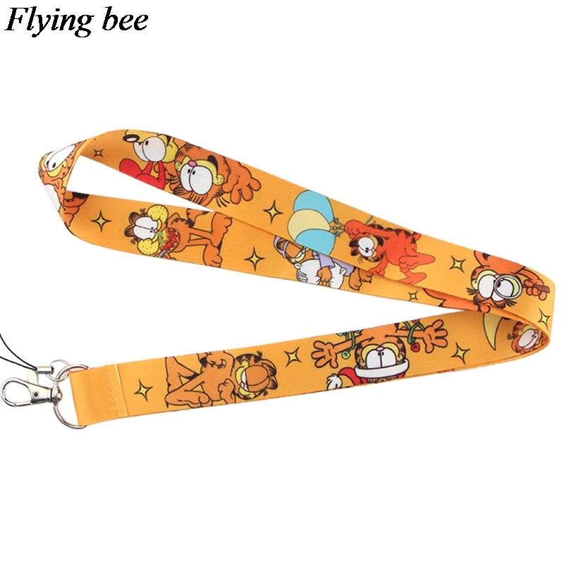 Flyingbee New Fashion Cat Printed Lanyard Key Strap For Phone Keys Cartoon Lanyards ID Badge With Key Ring Holder X0534