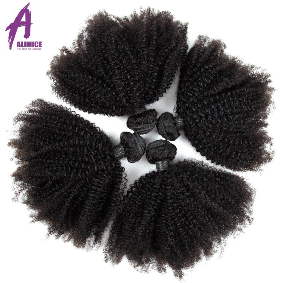 Paquetes de pelo brasileño de pelo rizado Afro paquetes de pelo humano 100% Real paquetes de 8 30 pulgadas 4 paquetes extensión de cabello Remy L