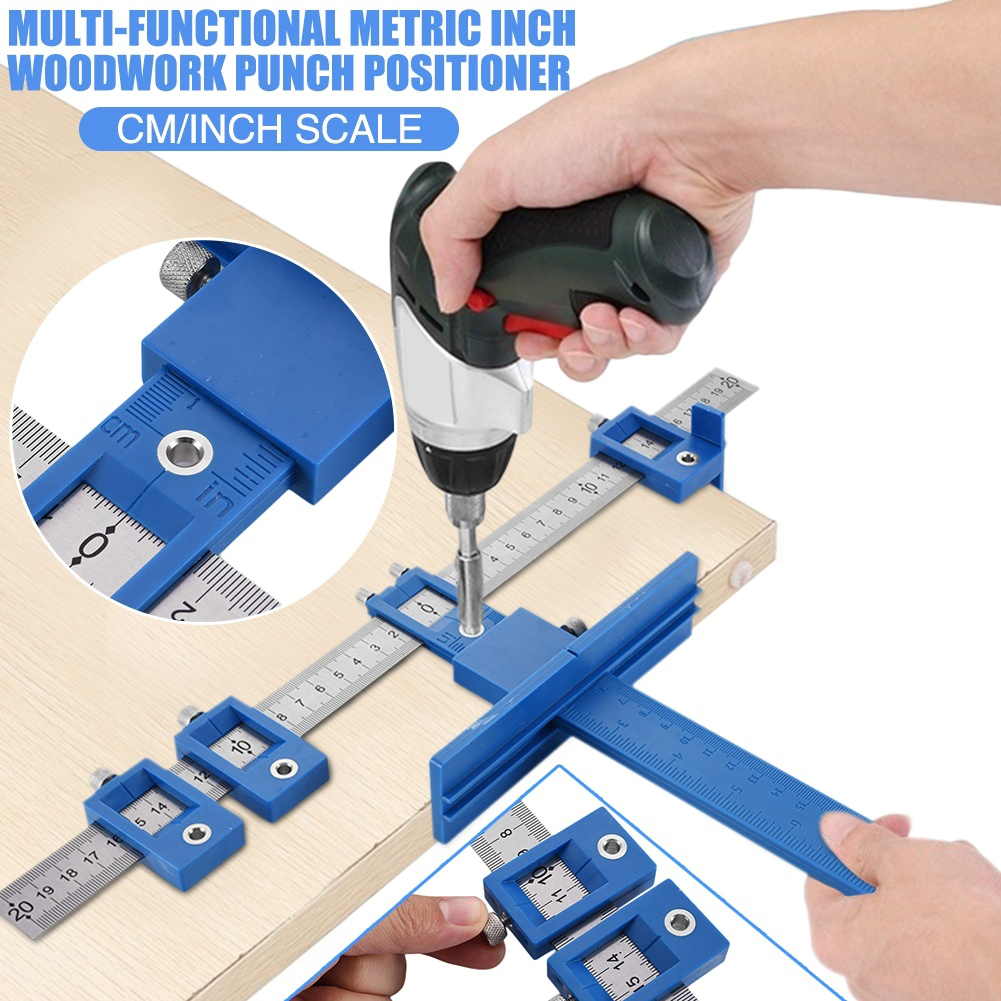 Multi-Function Drill Punch Jig Tool Locator Furniture Cabinet Hardware Locator Woodworking Joinery Drill Bit Guide Hand Tools