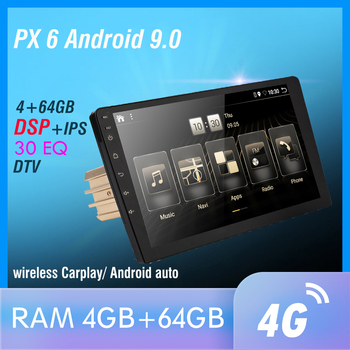 1 din DSP Android 10 PX6 Multimedia DVD Video Player GPS Navigation Car Radio Stereo Wifi BT HDMI Carplay TV OBD DAB SWC 4G+64G image