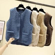 Waistcoats Velvet-Vests Woolen Fashion Women Loose Thicken Autumn V-Neck Winter WDC6181