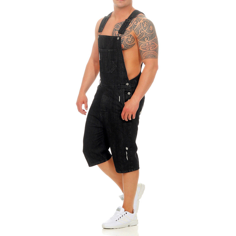 Men Denim Bib Overalls Shorts Ripped Jeans Jumpsuits Sleeveless Male Casual Working Protective Uniforms Summer Black Blue Safe