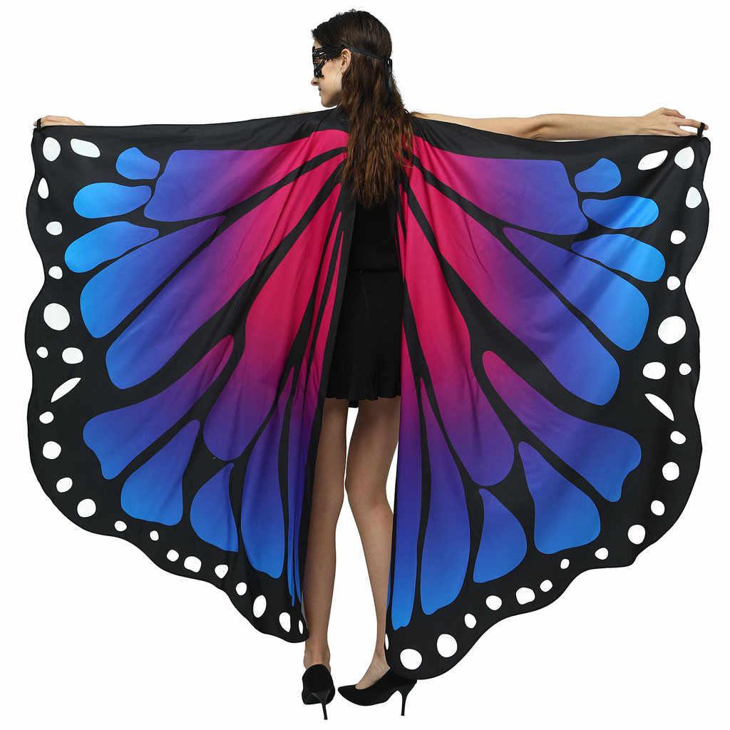 Mulher borboleta asas xale 2018 novos cachecóis senhoras ninfa pixie poncho traje acessório feminino capa de praia colorido poncho