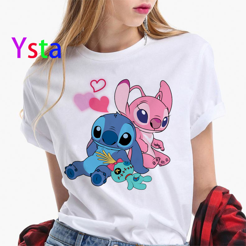New Cute Lilo Stitch Harajuku Kawaii T-shirt Women Lovely Cartoon Letter Printed Colorful Top Tees Casual Korean Tops Female