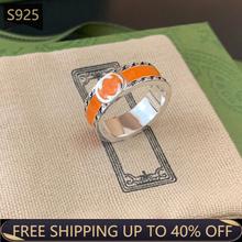 G pierścień 925 Sterling Silver luksusowej marki podwójne G zielony pomarańczowy pierścień emaliowany mężczyźni i kobiety para Retro Hip HopValentine dzień prezent tanie tanio 925 sterling CN (pochodzenie) CYRKON Drobne Pierścionki Ag Luxury Brand Ring G ring Śliczne Romantyczne Certyfikat GDTC