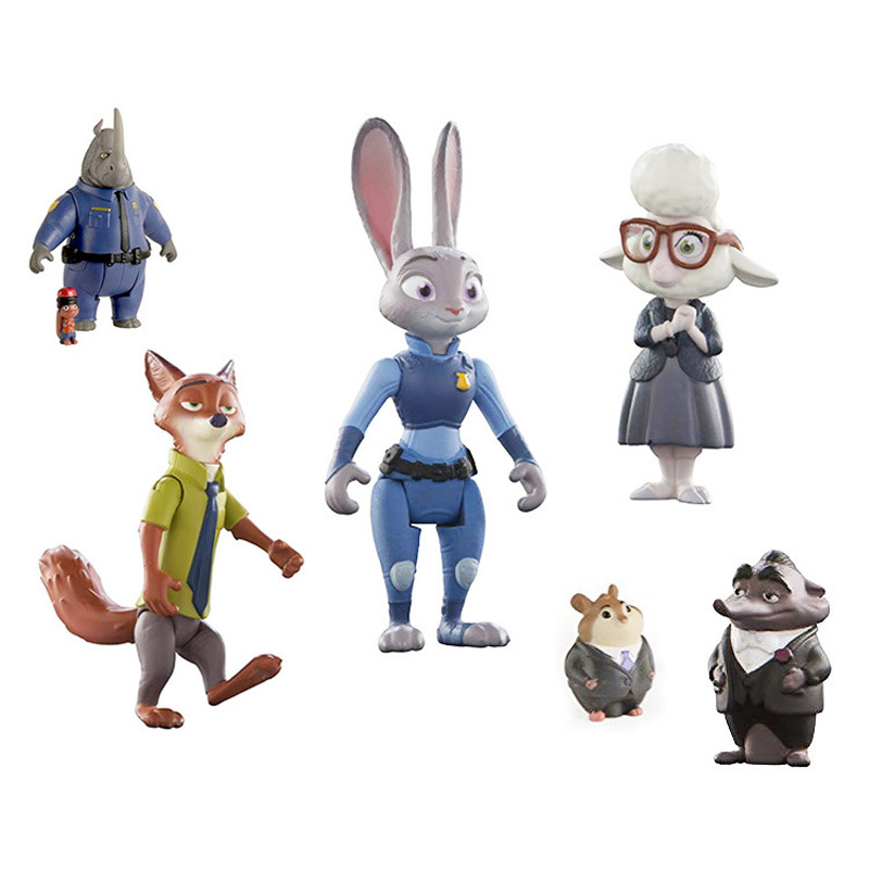 New Loose Original Zootopiaes Toys Action Figure Doll Toy PVC Rabbit Judy Cop Fox Nick Cartoon Brinquedo Office Wilde Hopps Gift
