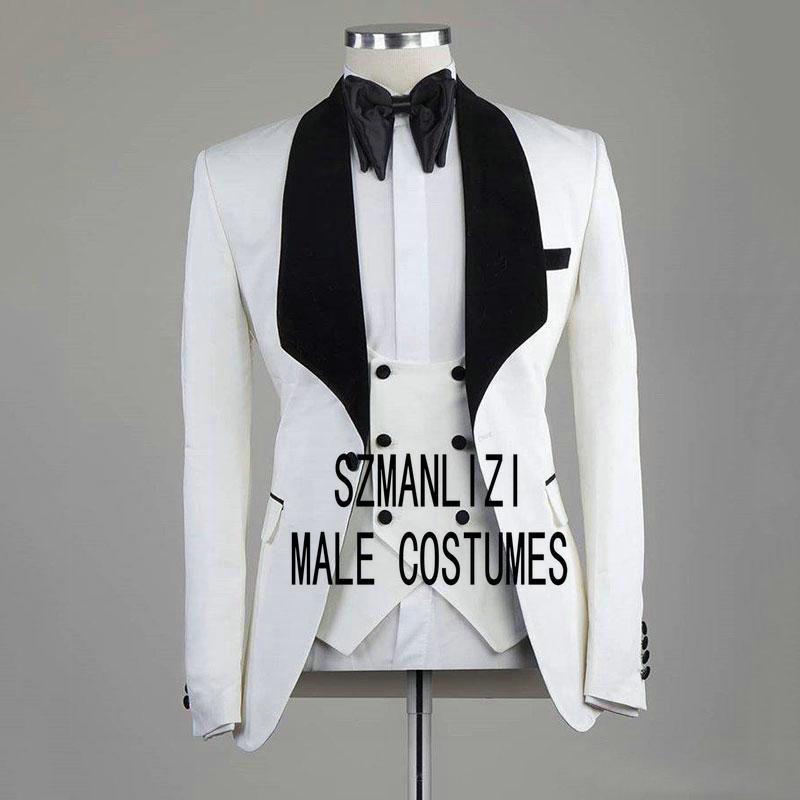 Men Wedding Suits 2020 White Blazer Groom Tuxedos Black Lapel Groomsmen Wedding Party Suit Best Man 3 Pieces Bridegroom Suit