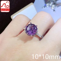 Baceda Natrual Crystal Natural Amethyst Ring February Birthstone Fireworks cutting More shining 10mm  Adjustable/Free Size S925 1