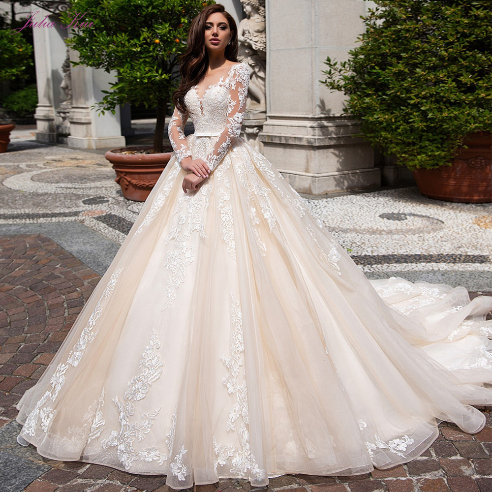 Julia Kui Luxury Champagne Tulle A Line Wedding Dress With Scoop Neckline Of Chapel Train Bride Dress Full Sleeve