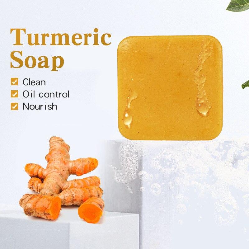 Куркумы мыло травяной натуральный скраб для очистки питательное масло-Управление отбеливание, лечение акне удаление клещей мыло для лица У...