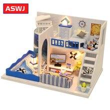 Miniatura Roombox DIY casa de muñecas con muebles casa de madera sonido del mar Mini casa juguetes para niños regalos de cumpleaños