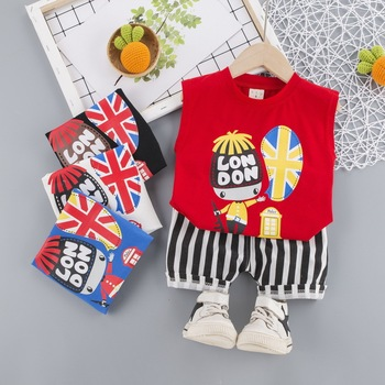 Summer Baby Boy Clothes Set Print Vest Stripe Shorts 2Pcs Baby Suit Baby Boy Outfit Kid Fashion Tracksuits Children Costume kid casual blazers suit for baby boy black child coat fashion children jacket costume for boy blue graduation suit h006