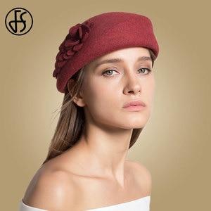 Image 2 - FS 100% Australian Wool Felt BeretsสุภาพสตรีศิลปินBeretหมวกสำหรับสุภาพสตรีหมวกCasual Boinaดอกไม้หมวกBoina Femininoหมวก