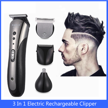 Beard Trimmer Hair-Clipper Professional Electric Kemei Barbe Rechargeable Nose 3-In-1