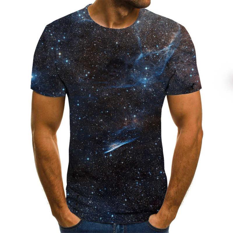 Yıldızlı gökyüzü mavi yanan tişört erkek t shirt 3d t-shirt siyah Tee rahat üst Anime eğlence streetwear kısa kollu kumaş damla gemi