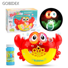 Baby Bath Toys Electric Crab Bread Bubble Machine Light Music Automatic Blowing Bubbles Plastic Water Toys For Children стоимость