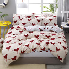 3/4pcs Bedding Set Soft Heart Red Love Stripe Duvet Cover Pillowcase Bed Sheet Girl Teen Woman Bedroom Decoration Bedspread(China)
