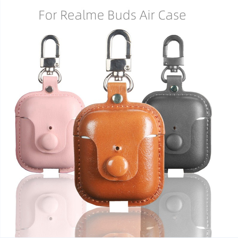 JINSERTA Luxury Leather Case For Realme Buds Air Portable Protective Shell Cover With Key Chain For Buds Air Charging Box