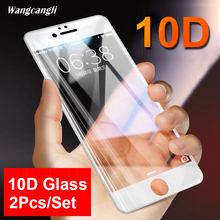 2Pcs/Set 10D glass protective film for iPhone6 7 8 Plus HD screen protector transparent hard full tempered gla