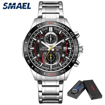 цена SMAEL Fashion Men Watches Stainless Steel Strap Waterproof Quartz Watch Date Chronograph Male Wristwatch Clock montre homme 9064 онлайн в 2017 году