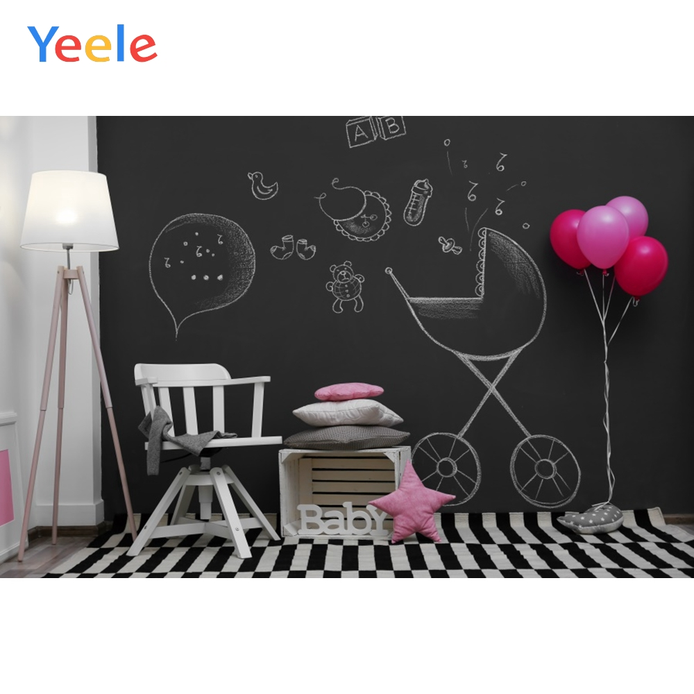 Room Baby Toys Teddy Bear Balloon Birthday Carpet Blackboard Interior Photo Backgrounds Photo Backdrops Photocall Photo Studio