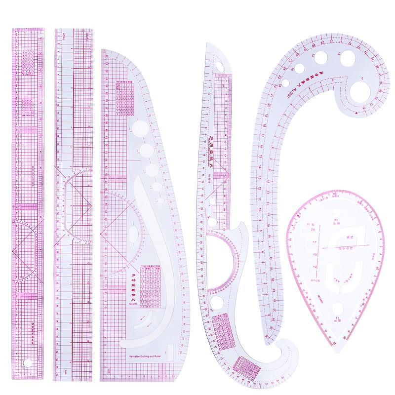 Lmdz 6 pçs prático costura francês curva corte régua medida costureira corte artesanal escala regra ferramenta de desenho