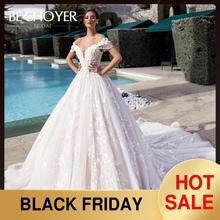 BECHOYER Vestido de novia flores 3D con cuentas de lujo, escote Corazón, hombros descubiertos, apliques de encaje, Vestido de novia