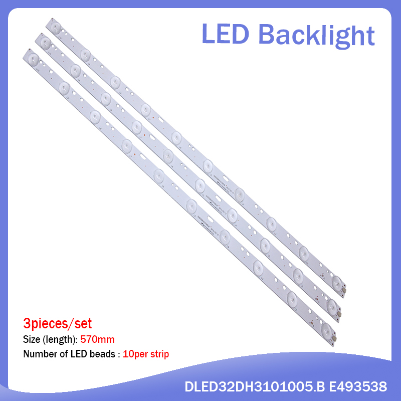 20pcs 32'' 570mm*17mm 10leds LED Backlight Lamps LED Strips W/ Optical Lens Fliter For TV Monitor Panel 30V New