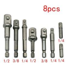 Chrome Vanadium Extension Tools Socket-Adapter Square Hex Shank Tightly Drill-Bits-Bar