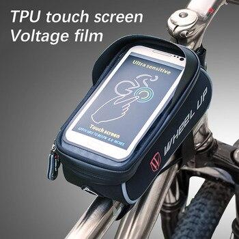 Impermeable ciclismo bicicleta cabeza tubo manillar móvil funda de teléfono móvil con bolsa soporte pantalla teléfono Mount Bags funda akcesoria #22