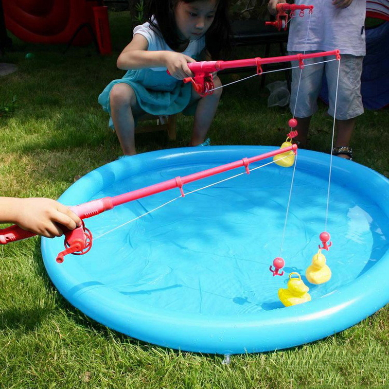 Giant Kids Fishing Toys Duck Fishing Games Set Funny Educational Preschool Outdoor Sports Toys For Children Gifts