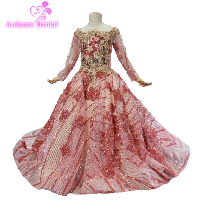 First Communion Dressred Glitters Lace Shiny Flower Girl Gown Long Sleeve Lace Flower Girl Dresses Birthday Party Wear For 2-14y