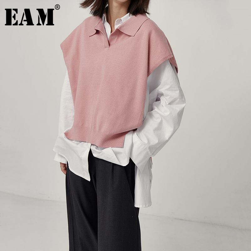 [EAM] Hollow Out Split Joint Knitting Sweater Loose Fit Lapel Sleeveless Women New Fashion Tide Autumn Winter 2019 1D057