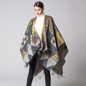Image 5 - Pançolar Ruanas Para Mujer bayan şal kadın pelerinler taklit kaşmir pelerin kalınlaşma sıcak kış ceket bayanlar Pashmina panço