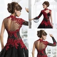 Victorian Gothic Masquerade Wedding Dress Black And Red Dress Formal Event Gown Plus Size robe de soire vestido de festa longo