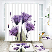 Tulip Lotus Flowers Trees Shower Curtain floral Sets Non-Slip Rugs Toilet Lid Cover and Bath Mat Waterproof Bathroom Curtains