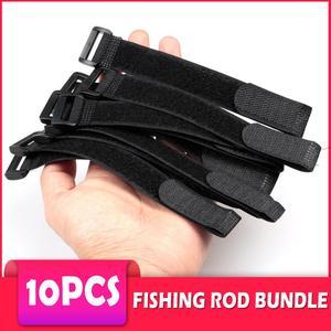 10pcs Fishing Rod Tie Holder Strap Suspenders Fastener Hook Loop Ties Fishing Rod Strapping Velcro Outdoor Fishing Gadget
