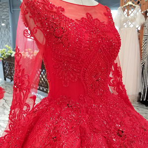 Image 5 - LS39411 vestido rojo largo hasta el suelo para novia, vestidos de fiesta de boda con cuello redondo, manga larga de tul con cordones en la espalda, vestido de noche plisado barato a precio real