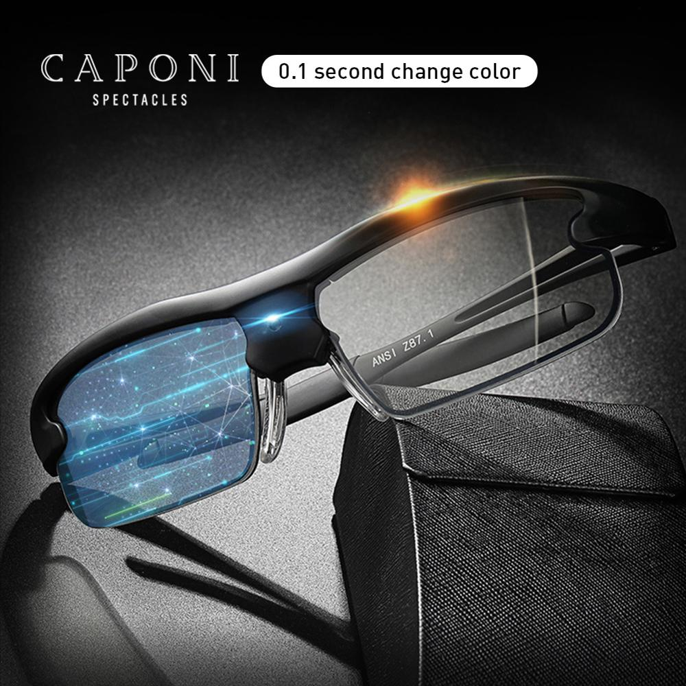 CAPONI 0.1 Second Intelligent Color Change Sunglasses Photochromic Polarized Shade Vintage Sports Driving Sun Glasses Men BS0087