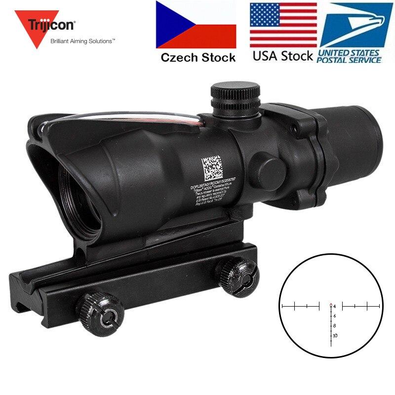 Caza rifloscopio ACOG 4X32 fibra óptica Real punto rojo iluminado Chevron vidrio grabado retícula vista óptica táctica